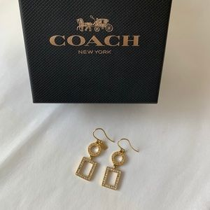 Coach Earrings Jewlery Gold Tone Dangle 1.5 inch